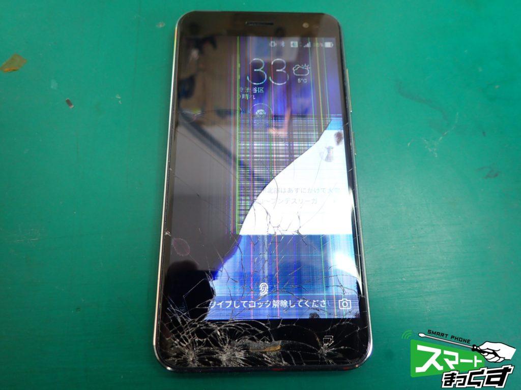 落下によるガラス割れと液晶破損