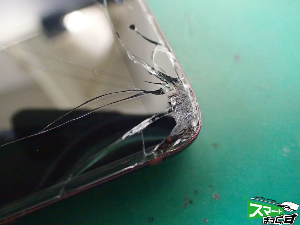 HTC U12+ 破損部 拡大写真