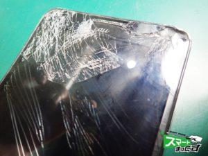GALAXY Note3 画面割れ 液晶破損 破損箇所のアップ