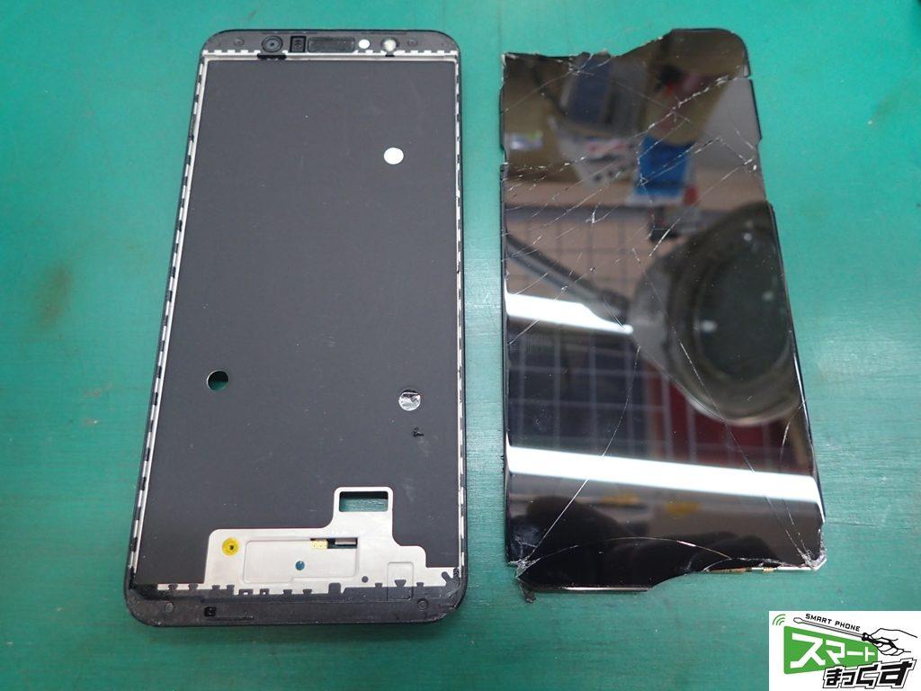ZenFone Max Pro M1 ZB602KL 破損ディスプレイ取り外し